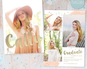 Senior Graduation Card - Photoshop Template - AG020 - INSTANT DOWNLOAD