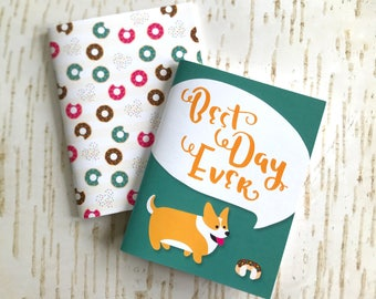 """Set of 2 mini pocket notebooks // """"Best Day Ever"""" Corgi + Donuts // 40 lined pages"""