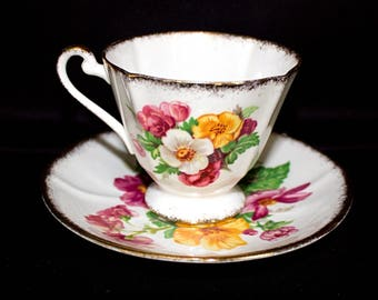 SUMMER Beauty ROSLYN Fine Bone China TEACUP and Matching Saucer