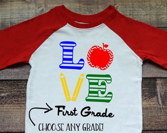 Children's Love School Shirt, First Day, Raglan Tee, 1st 2nd 3rd 4th Grade T-Shirt, Kid's Back to School, Pre-K, Kindergarten, Preschool