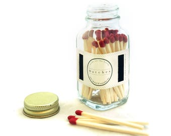 Red Square Bottle Matches - Home Decor - Fancy Jar Matches - Strike on Bottle - Pair with a Candle - Match Jar - Light a Pretty Spark