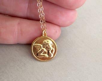 Angel Face Pendant, Beaded Quartz Chain and Coin Angel Pendant, Guardian Angel Necklace, Guardian Angel, Coin Pendant