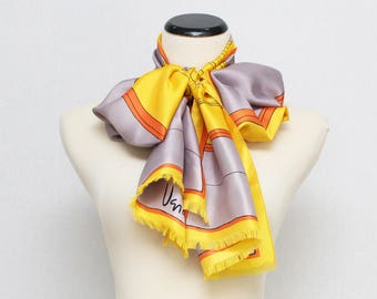 70s Yellow and Grey Vera Neumann Scarf - Vintage 1970s Abstract Print Silk Scarf