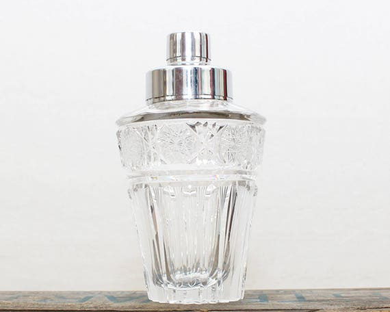 Vintage 1950s Crystal Cocktail Shaker