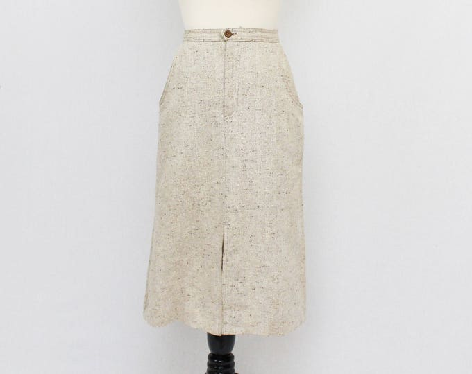 70s Beige Tweed A Line Skirt - Vintage 1970s High Waisted Skirt