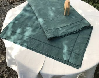 Large sheet, linen, handmade embroidered, monogramm CC, green dyed