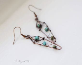 Unique earrings wire wrapped turquoise and copper