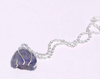 Rough Raw Tanzanite Pure Sterling Wrapped Pendant + Plated Necklace Chain #002