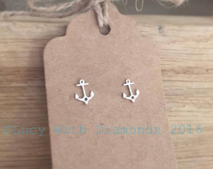 Anchor stud earrings sterling silver coastal jewellery