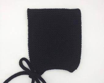 Black Knit Baby Hat, Merino Wool Pixie Hat, Garter Stitch Baby Bonnet, Sizes Newborn - 2 yrs, Black Pixie Elf Hat, Hand Knit Cap, Sam Pixie