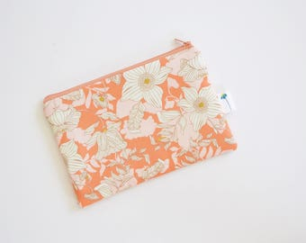 Peach Cosmetic Bag, Small Pencil Pouch, Floral Zipper Bag, Gift for Her, Accessory Bag for travel, Small Makeup Bag Bridesmaid Gift under 20