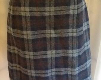 Vintage plaid skirt plaid wrap skirt blue gray red plaid skirt size 14
