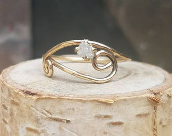 14k gold raw diamond ring Conflict free diamond ring Raw diamond ring 14k gold engagement ring Engagement ring Unique Ooak conflict free