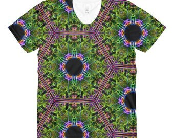 Blazing Green Kaleidoscopic Sublimation women's crew neck t-shirt