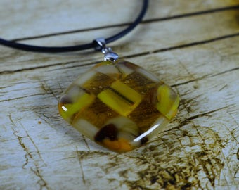 FREE SHIPPING, Glass pendant Fused glass jewelry, Multicolor pendant, Womens gift, Handmade jewelry