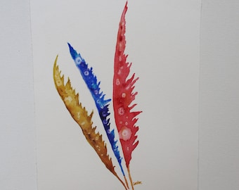 Feather watercolor painting, Original watercolor