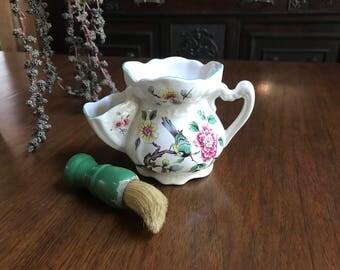 Old Foley Chinese Rose Scuttlemug with Brush