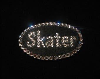 SPARKLY SKATE SKATER Magnetic Pin Patch-Swarovski Crystals-Figure Skater Gift-Ice Skater-Roller Skater Bling