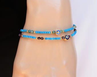 Evil Eye Bracelet, Tiny   Turquoise, Garnet &Jade 18k Gold Filled  Evil Eye Friendship, Turkish Jewelry