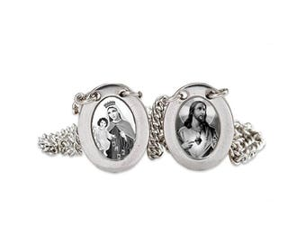 Stainless Steel Mini Oval Scapular - Black & White Images - Lady of Mount Carmel and Jesus - 12.5""