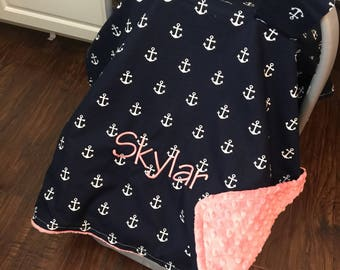 Personalized Nautical Carseat canopy, boy or girl monogrammed car seat cover, navy anchors
