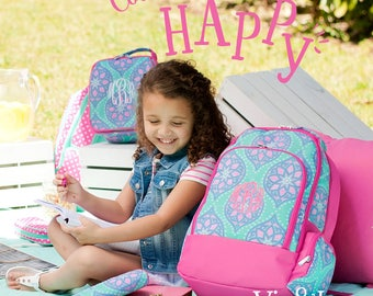"""Monogrammed """"Marlee"""" Back to School Collection - Backpack, Lunch Tote, Pencil Case, ID Case & Lanyard"""