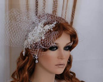 Birdcage Veil Bird Cage Bridal Headpiece Hairpiece Wedding Weddings Beaded Blusher Bride Hair Head Piece Accessory Hat Cup Short Party Veils