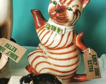 Vintage, 1980s, Cat, Teapot, Tony Wood Teapot.