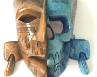 Quetzalcoatl Kukulcan cedar mayan mask