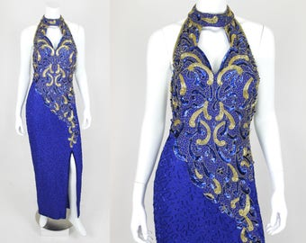 Vintage Sequin Dress Blue Gold Halter Backless Split Small 80s Prom Gown