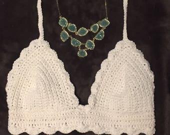 Scallop Bralette, Crochet, Lingerie, Bikini, Halter, Bohemian, Festival, Croptop