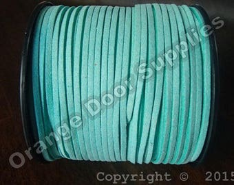 Sample -12 inches  Seafoam Faux Suede Lace 3 x 1.5 mm- (559)