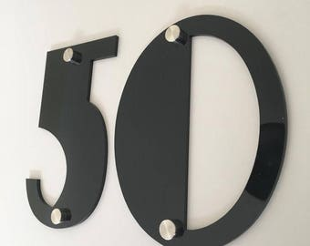 Art Deco Font, Drilled Finish, House/Shop/office Names and Numbers with fixings - Several Colours and Sizes