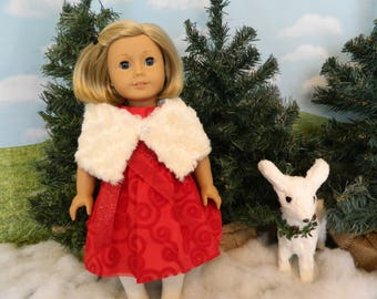 American Girl fitting Christmas dress, fur wrap and tights - made for American Girl doll or similar 18 inch doll