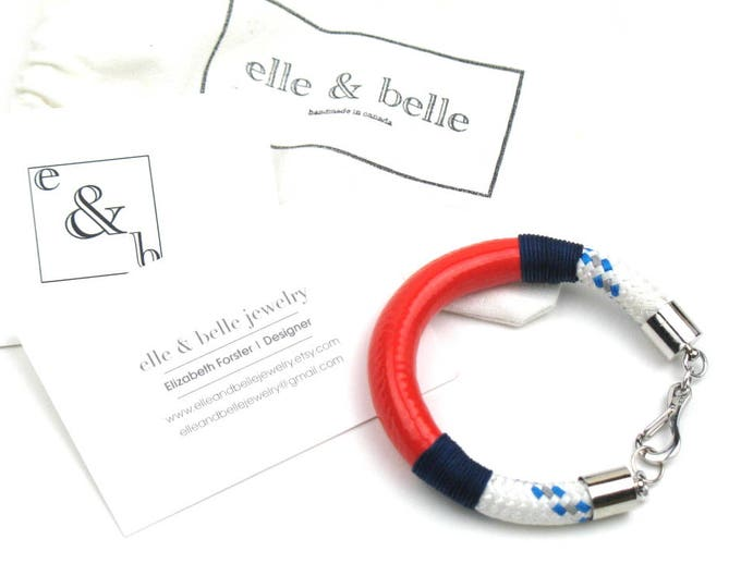 Nautical Rope Bracelet in White and Blue Boating Cord with Coral Enamel