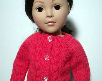 "Hand-knit cable cardigan sweater for American Girl and other 18"" dolls."