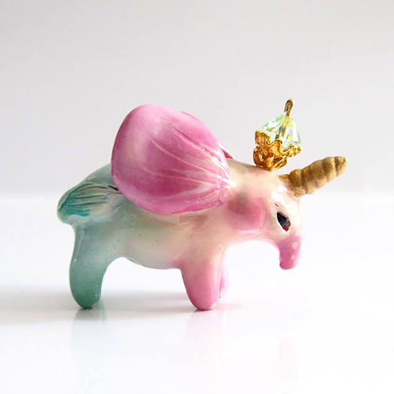 Sale - KING OF UNIFANTS - Handmade Polymer Clay Sculpture With a Swarovski Crystal