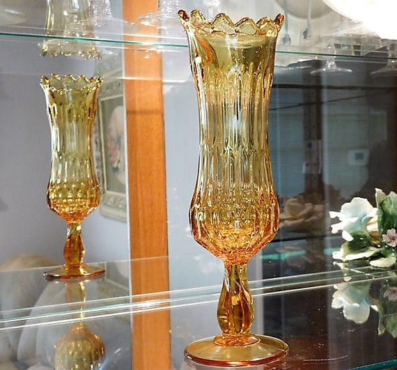 MCM Mid Century Modern MOD 1960s Amber Art Glass Swung Glass Vase Stretch Pulled Glass Pedestal Vase Cottage Home Decor Retro Vintage