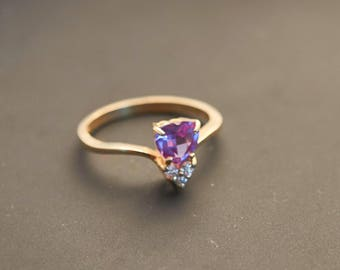14K Yellow Gold - Lovely Pink Sapphire Heart with Diamonds Ring - Natural Sapphire 0.7 Ct