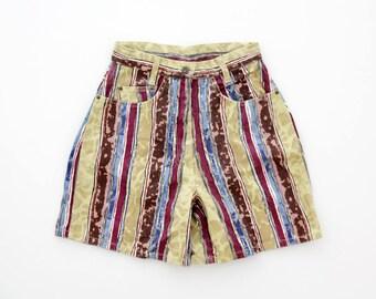 Vintage Shorts // Mustard Brown Blue Patterned Jean High Waist Shorts