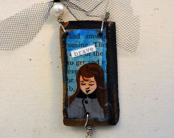 brave girl mini mixed media collage on wood