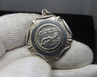 Vintage Sterling Silver Albert Watch Chain Swimming Medal by W.H.Darby 1960