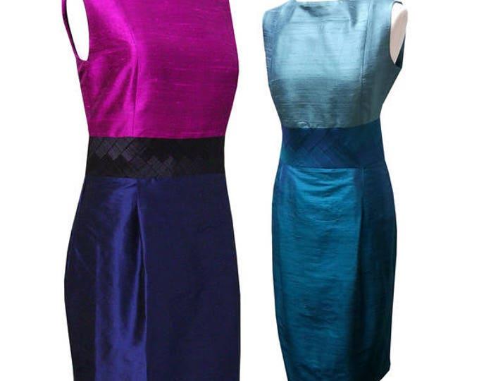 Sleeve less shift dress shantung silk color choice
