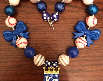 Kansas City Royals Baseball Sports inspired Bubble Gum Necklace (Adult/Teen)