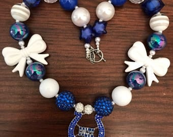NFL Football Inspired Indianapolis Colts Bubble Gum Necklace (Adult).
