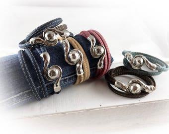 Damen Armband Kork vegan rot natur dunkel blau braun türkis silber Wickelarmband Geschenk für sie Ehefrau beste Freundin Schwester