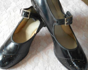1920's Black Leather Mary Janes - Never Worn