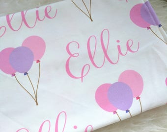Personalized balloon swaddle blanket: baby and toddler personalized name newborn hospital gift baby shower gift