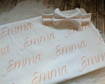 Personalized peach baby name headband and name blanket set: baby and toddler personalized name newborn hospital gift baby shower gift