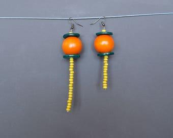 Assymetric earrings Mismatched earrings Long earrings Beaded earrings Wooden earrings Yellow earrings Green Orange earrings Rustic earrings